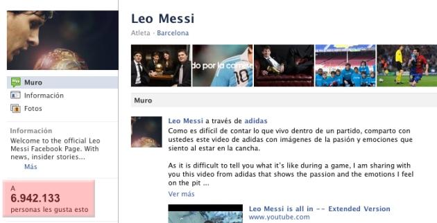 Fan Page del ídolo del fútbol con cerca de 7 millones de fans.